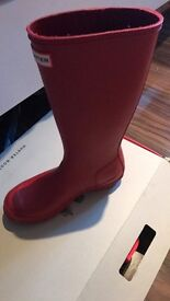 Red hunter wellies size 5