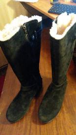 Genuine ugg black suede knee lenght boots