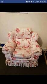 3 seater sofa and armchair flowered £40 ono