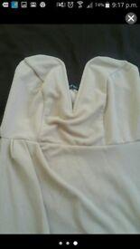 Beige boobtube split dress size 12