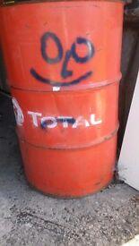 Oil Drum - TOTAL - Orange - 205 litre - Empty
