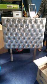 Single silver metallic headboard