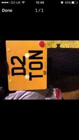 Cherished number plate D2 TON