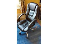 Office Chair: HNNHOME High Back Luxury 360 Degree Swivel Leather Seat Height Adjustable (Black)