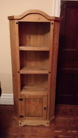 Solid Oak Corner Unit/Shelf/Display Case