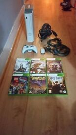 Microsoft Xbox 360 20 GB Matte White Console Plus Accessories and 6 games