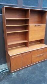 Vintage / Retro S Form Teak Wall Unit / Cabinet