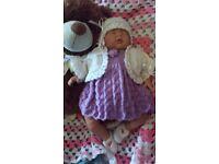Hand knitted girls 4 piece set NEW 16-18 inch reborn doll newborn size