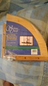 Wall mounted Solid pine corner shelf [ new unused ] £8 ea. ( or 5 for £25 )