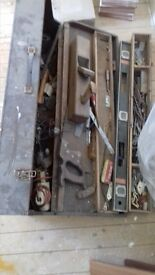 retro / vintage wooden tool box full of tools