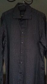 MENS BLACK / GREY STRIPED SHIRT