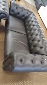 Chesterfield deep button black leather 3 + 1 + 1