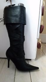 Gorgeous high heeled leather boots size7/8