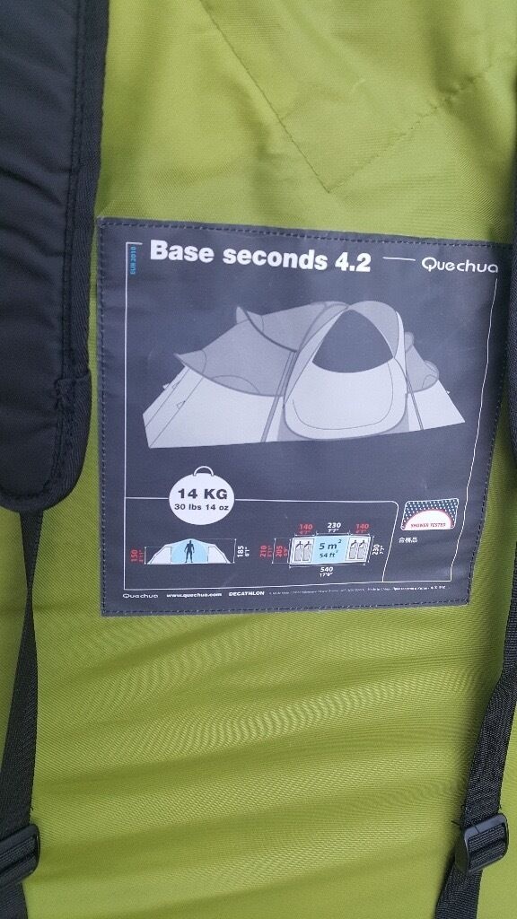 quechua base seconds 4.2 tent,brand new never usedin Bargeddie, GlasgowGumtree - quechua base seconds 4.2 japanes style pop up tent with 2 separate rooms and a good size sitting area in the centre for a table,chairs etc, brand new never used bought it 9 months ago full of good intentions and ended up with a caravan lol,a chance...