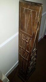 Vintage oriental triangular carved hardwood chest of drawers.