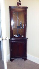Lexerton Mahogany Corner Display Cabinets