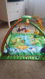 FISHER PRICE RAIN FOREST Deluxe Baby Gym & Play Mat With lights & sound