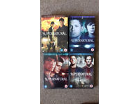 Supernatural season 1-4 DVD complete box sets - watched once.
