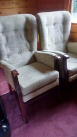 Pair of Orthopaedic High Back Chairs in pale green upholstery