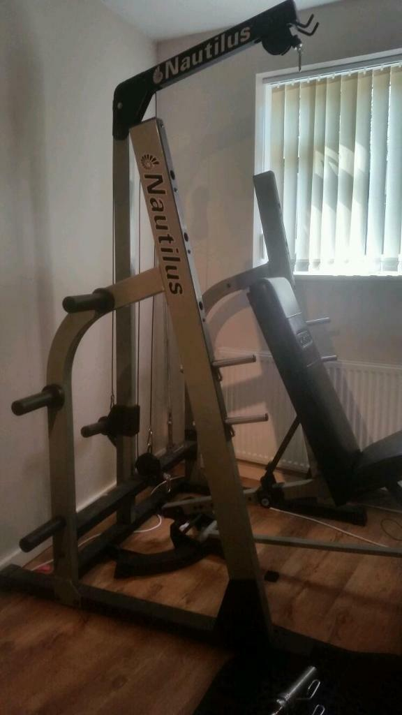 Nautilus Power Rack With Lat Row Cables Bench Press Squat Rack Multi Gym In Rubery