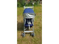 Maclaren Globetrotter pushchair, blue and white, very good condition, rain cover included