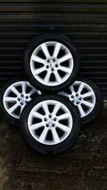 *!*FULL SET OF 4 5x100 TOYOTA AVENSIS ALLOY WHEELS WITH 4 EXCELLENT 205/55/16 TYRES*!*