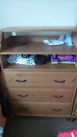 Pine Chest of Drawers W/ shelving and Baby Changing Table Tidy Condition