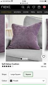 Next velour cushions