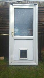 white pvc back door, inc cat / dog flap