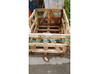 Strong wooden crate and one pallet free to collector
