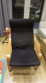 POANG arm chair Oak veneer/Black - removable cover, can be machine washed