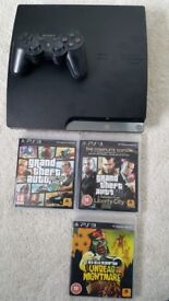 Playstation 3 Slim 160GB + GTA 4 complete edition, GTA5, Red Dead Redemption Undead Nightmare)