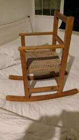 Wooden and wicker child's rocking chair