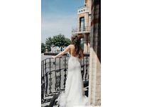 Vera Wang Wedding Dress, open back, long train, size 8UK
