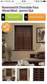 FREE Rosewood & Chocolate Faux Wood Blinds - 50mm slat NEW AND UNUSED