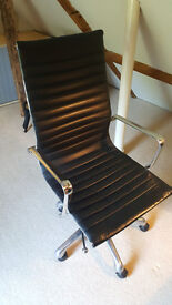 Stylish leather and metal swivel chair for sale...