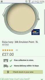 BRAND NEW&SEALED IVORY SILK EMULSION 5 LITRES FOR walls&ceilings