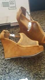 Ladies wedge sandles/shoes size 8E new in box