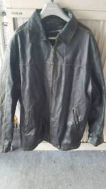 Men's large genuine black leather jacket with stitching detail. Size 54