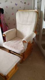 Nursery glider chair and footstool