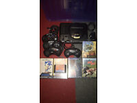 Sega megadrive console and 9 games, road rash, sonic, lhx, desert strike, m6 collection