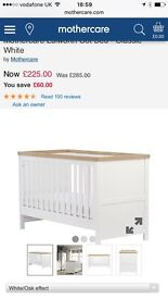 Mothercare Oak and White Cot Bed with baby changer to fit on top,excellent condition.