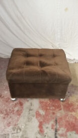 brown draylon foot stool with lift up padded top