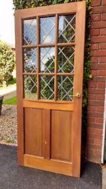 Hardwood exterior door, leaded light glass , never fitted