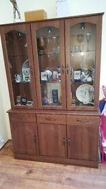Glazed Walnut Dresser Cabinet with lights