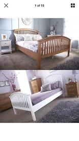 Madrid Wooden Bedstead Very good bargain today king-size oak bed £130 good bargain