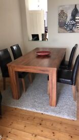 Oak Wood Table and 4 Leather Chairs