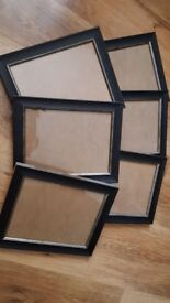 6 black photo frames