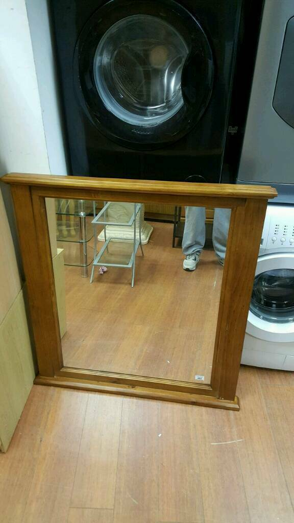 Very heavy solid oak wood overmantle mirror £45 delivered