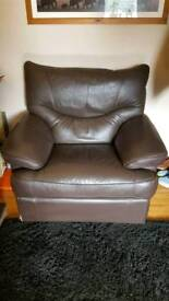 Reclining brown leather chair sofa armchair